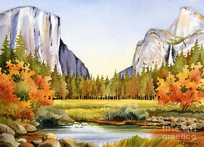 California Watercolor Artists Painting - Fall In Yosemite by David Rogers