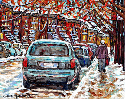Painting - Fall Into Winter Snowscene Canadian Maple Trees Painting For Sale Plateau Mont Royal Art C Spandau   by Carole Spandau