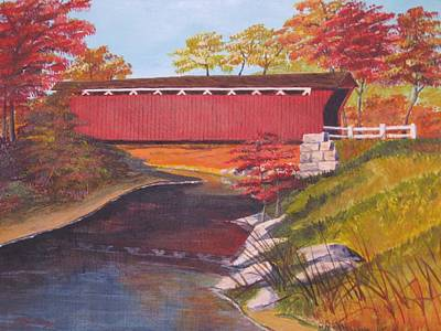 Covered Bridge Painting - Fall Is In The Air by CB Woodling