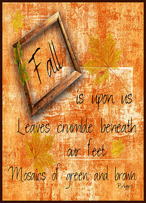 Mixed Media - Fall Is Upon Us by Paula Ayers
