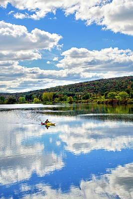 White River Scene Photograph - Fall Kayaking Reflection Landscape by Christina Rollo