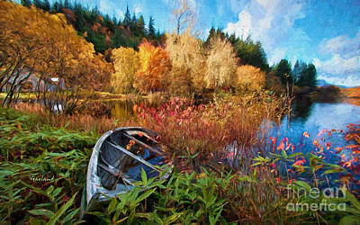 Row Boat Mixed Media - Fall Lake Scene by Garland Johnson