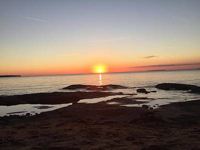 Photograph - Fall Lake Superior Sunset by Paula Brown