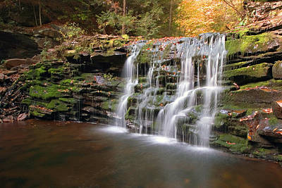 Photograph - Fall Leaves Adorn Cayuga Falls by Gene Walls