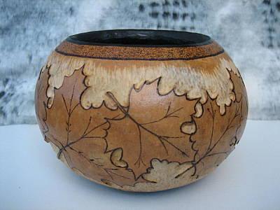 Pyrography - Fall Leaves by Barbara Prestridge