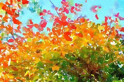 Painting - Fall Leaves Blue Sky by Leah Lambart