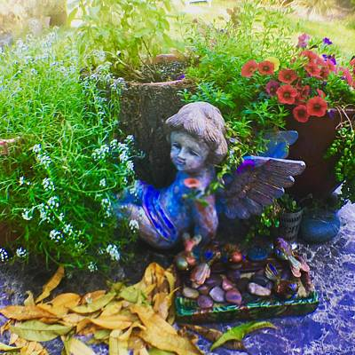 Photograph - Fall Leaves On Cherub  by Dottie Phelps Visker
