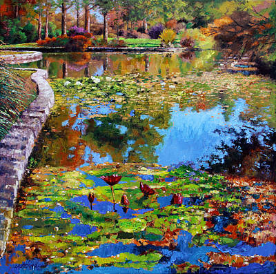 Water Lily Leaves Painting - Fall Leaves On Lily Pond by John Lautermilch