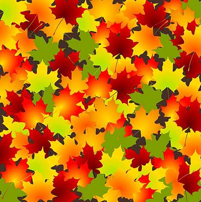 Leaves Digital Art - Fall Leaves Quilt by Anastasiya Malakhova