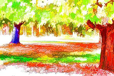 Fall Leaves Trees 2 Art Print by Lanjee Chee
