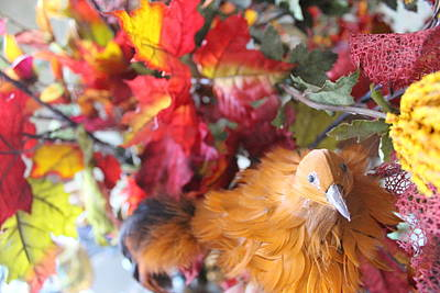 Photograph - Fall Leaves W/bird by Sheri Dean