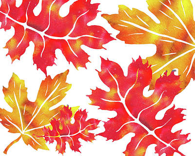 Painting - Fall Leaves Watercolor Silhouettes  by Irina Sztukowski