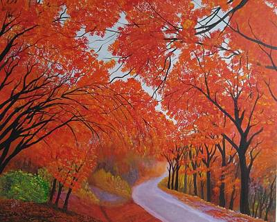 Painting - Fall Maple Daejeon Korea by Reggie Hart