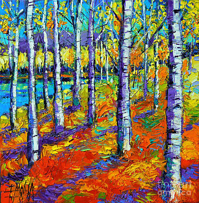 Woodland Trail Painting - Fall Mood by Mona Edulesco