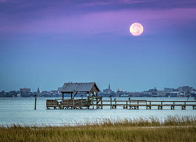 Photograph - Fall Moon And King Tide - Charleston Sc by Donnie Whitaker