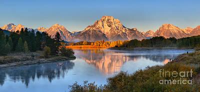 Photograph - Fall Morning Oxbow Bend Panorama by Adam Jewell