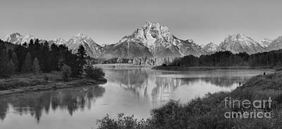 Photograph - Fall Morning Oxbow Bend Panorama Black And White by Adam Jewell