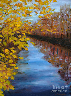 Fall On The Delaware Canal Art Print by Cindy Roesinger