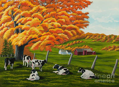 Autumn Scene Painting - Fall On The Farm by Charlotte Blanchard