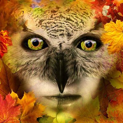 Digital Art - Fall Owl by Artful Oasis