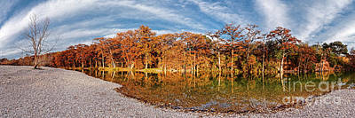Photograph - Fall Panorama Of Bald Cypress Along The Frio River At Garner State Park - Texas Hill Country by Silvio Ligutti