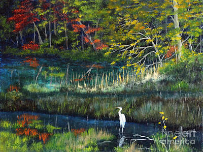 Maine Landscapes Painting - Fall Pond Marsh by Laura Tasheiko
