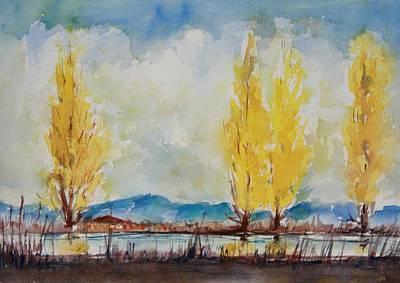 Skagit Painting - Fall Poplars by Sukey Watson