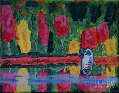 Painting - Fall Reflection Abstract  by Donna Brown