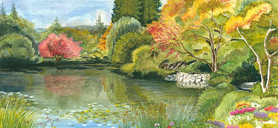 Reflections In Water Painting - Fall Reflections Butchart Gardens by Vidyut Singhal