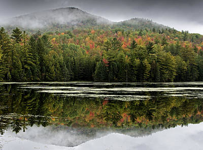 Fall Reflections In The Adirondack Mountains Print by Brendan Reals