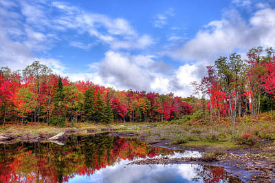 Fall Reflections In The Adirondacks Art Print by David Patterson