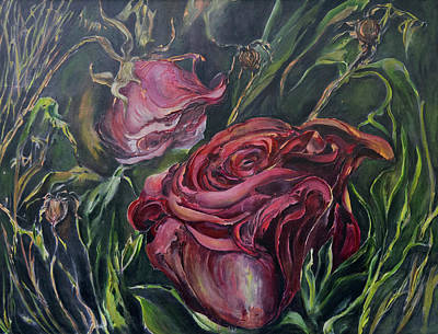 Painting - Fall Roses by Nadine Dennis