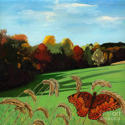 Fall Scene Of Ohio Nature Painting Art Print by Linda Apple