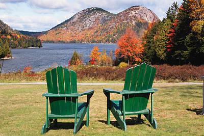 Fall Scenic With  Adirondack Chairs At Jordan Pond Art Print by George Oze