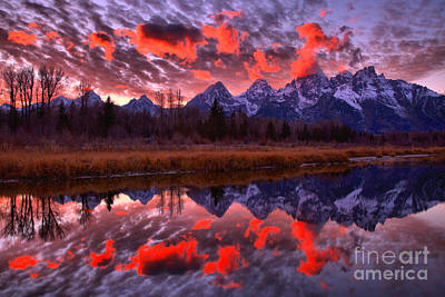 Photograph - Fall Schwabacher Landing Sunset Reflections by Adam Jewell