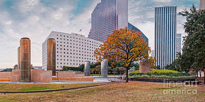 Photograph - Fall Season Panorama Of Tranquility Park In Downtown Houston - Harris County Texas by Silvio Ligutti