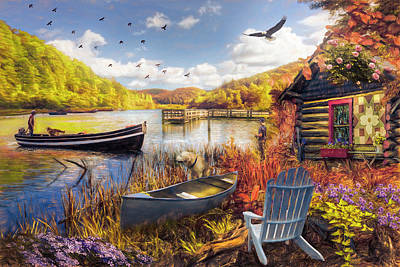 Photograph - Fall Serenity At Lakeside Painting by Debra and Dave Vanderlaan