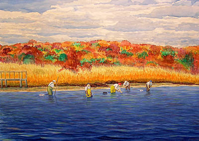 Cape Cod Painting - Fall Shellfishing In New England by Charles Harden