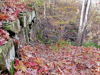 Photograph - Fall Stone Wall by Linda Carruth