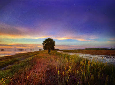 Fall Sunrise - In The Marshes Of St. Marks Art Print by Kathryn  Stivers
