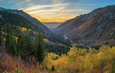 Fall Sunset In Little Cottonwood Canyon Art Print by James Udall