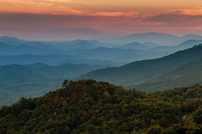 Photograph - Fall Sunset In The Smoky Mountains by Teri Virbickis