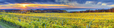 Winery Photograph - Fall Sunset On Old Mission by Twenty Two North Photography