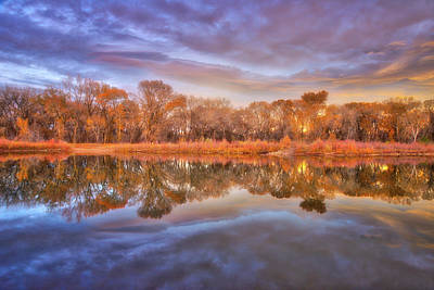 Photograph - Fall Sunset Over The Pond by Darren White