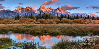 Photograph - Fall Teton Tip Reflections by Adam Jewell