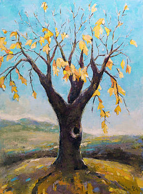 Pallet Knife Painting - Fall Tree In Virginia by Becky Kim