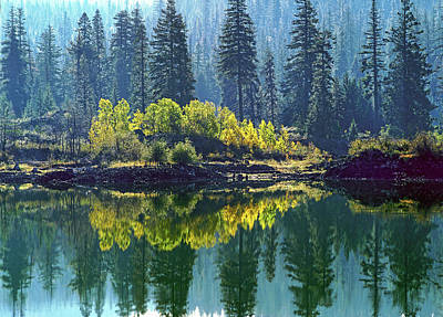 Fall Trees Reflected In Fish Lake Art Print
