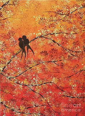 Lovebird Mixed Media - Fall Tress Triptych Middle Panel by Tammera Malicki-Wong