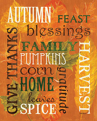 Thanksgiving Painting - Fall Typography 1 by Debbie DeWitt