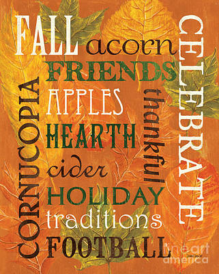 Maple Leaf Art Painting - Fall Typography 2 by Debbie DeWitt